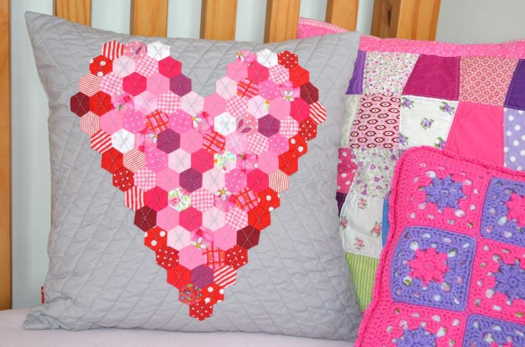 Hexie Heart Cushion
