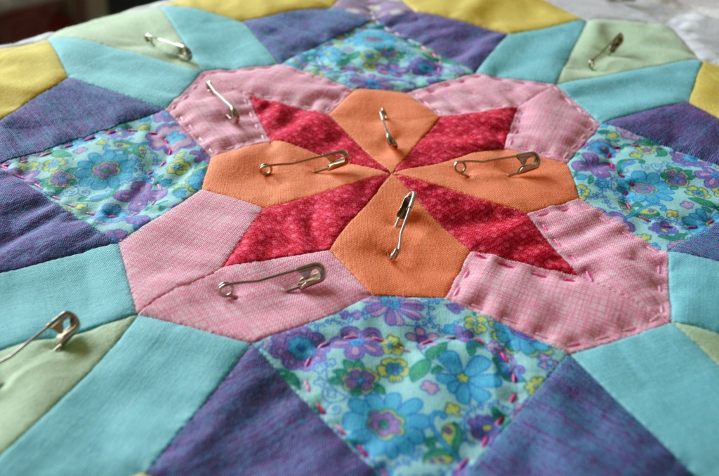 Jewel being hand quilted