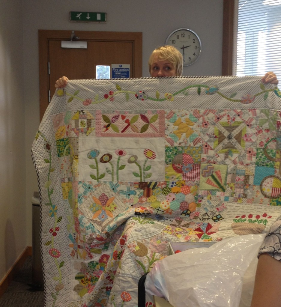 Jen Kingwell with her Green Tea and Sweet Beans quilt